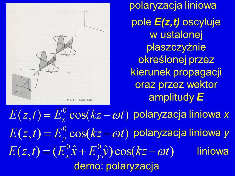 polaryzacja liniowa pole E(z,t) oscyluje w ustalonej płaszczyźnie określonej przez kierunek propagacji oraz przez wektor amplitudy E polaryzacja linio