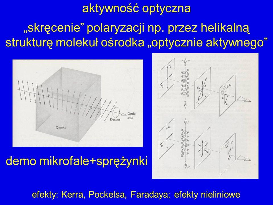 aktywność optyczna demo mikrofale+sprężynki skręcenie polaryzacji np. przez helikalną strukturę molekuł ośrodka optycznie aktywnego efekty: Kerra, Poc