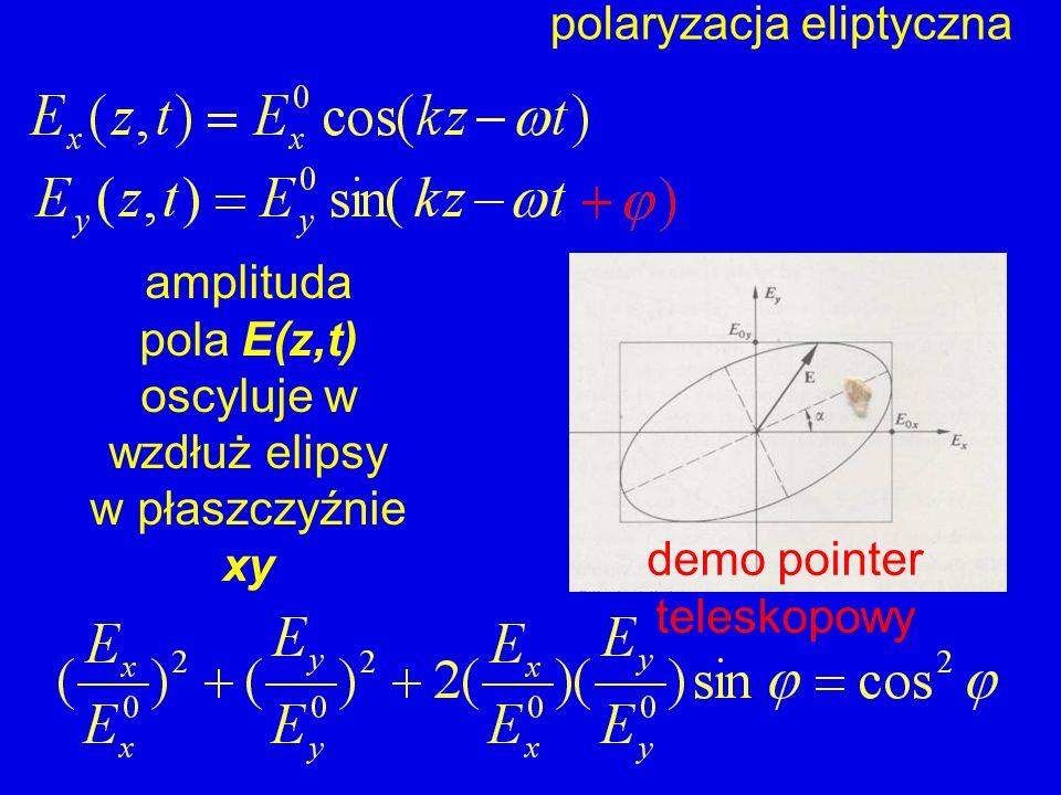 polaryzacja eliptyczna amplituda pola E(z,t) oscyluje w wzdłuż elipsy w płaszczyźnie xy demo pointer teleskopowy