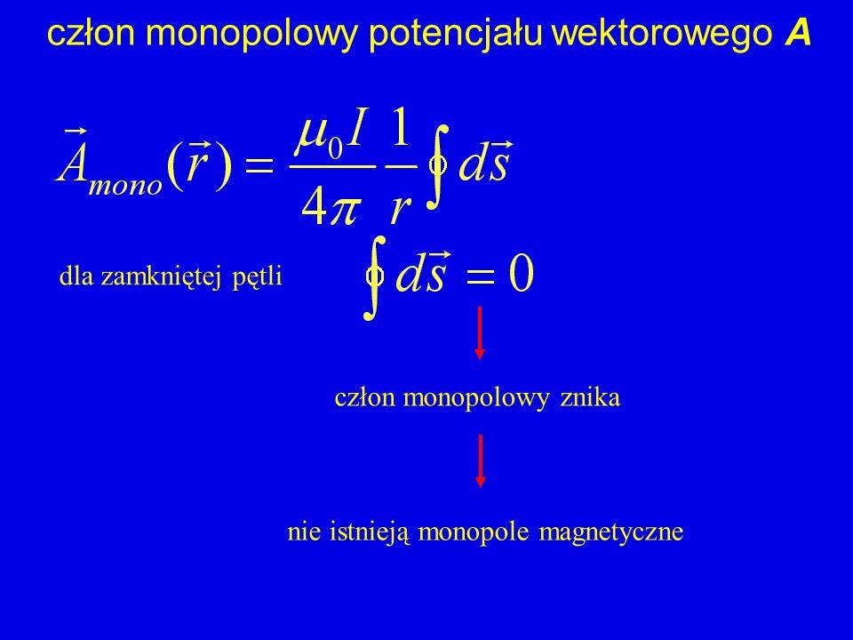 człon monopolowy potencjału wektorowego A dla zamkniętej pętli nie istnieją monopole magnetyczne człon monopolowy znika