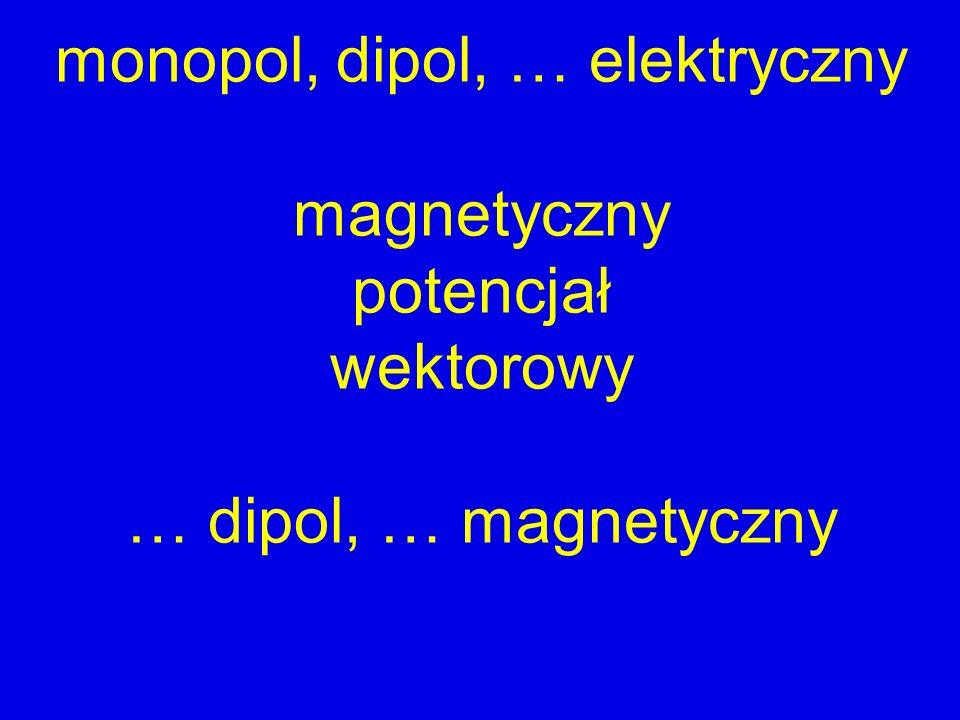 monopol, dipol, … elektryczny magnetyczny potencjał wektorowy … dipol, … magnetyczny