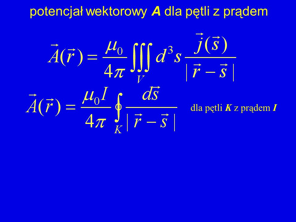 potencjał wektorowy A dla pętli z prądem dla pętli K z prądem I