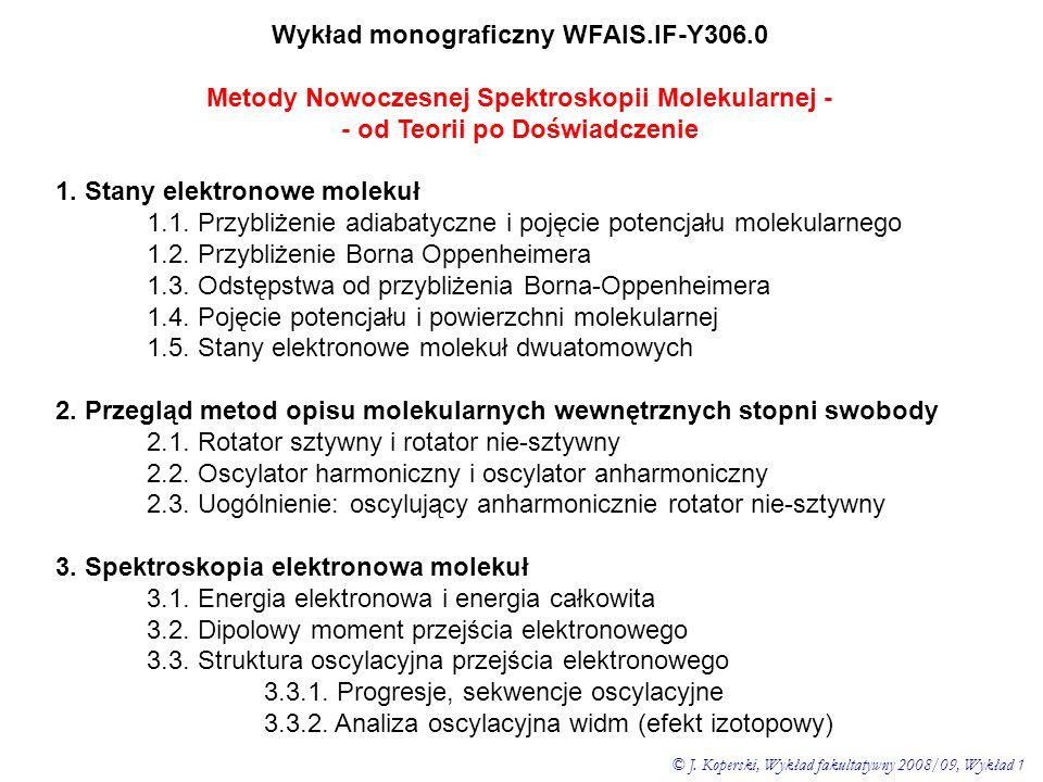 Wykład monograficzny WFAIS.IF-Y306.0 Metody Nowoczesnej Spektroskopii Molekularnej - - od Teorii po Doświadczenie 1. Stany elektronowe molekuł 1.1. Pr