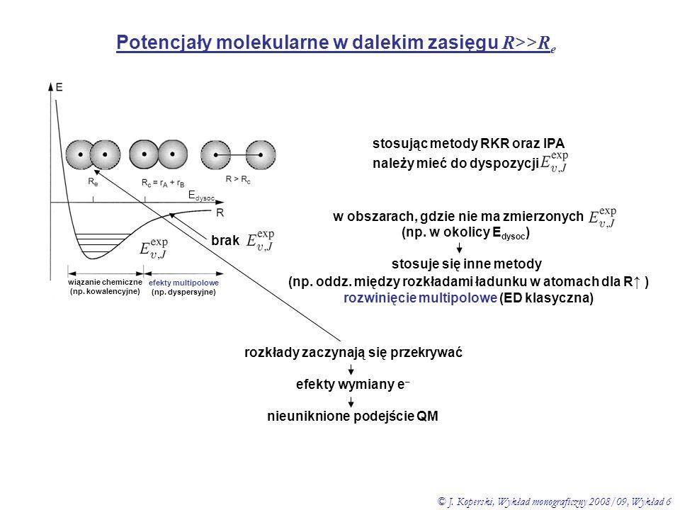 stosując metody RKR oraz IPA należy mieć do dyspozycji Potencjały molekularne w dalekim zasięgu R >> R e wiązanie chemiczne (np. kowalencyjne) efekty