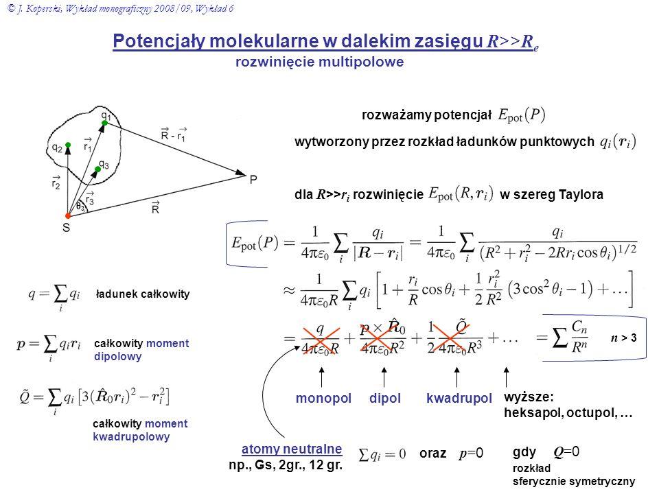 Potencjały molekularne w dalekim zasięgu R >> R e rozwinięcie multipolowe rozważamy potencjał wytworzony przez rozkład ładunków punktowych dla R >> r