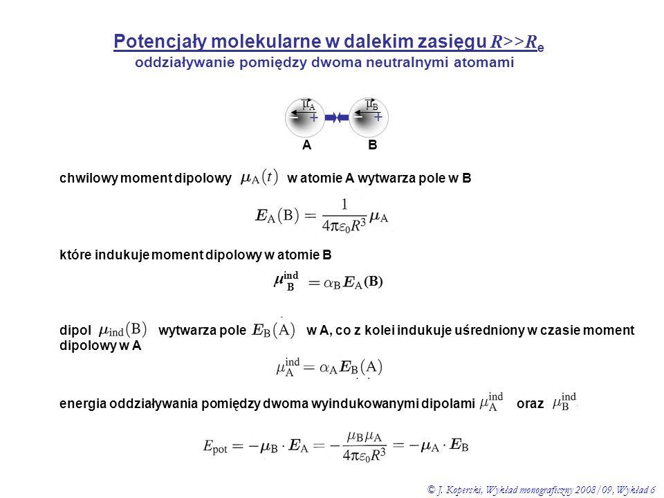 oddziaływanie pomiędzy dwoma neutralnymi atomami – + – + μAμA μBμB A B dipol wytwarza pole w A, co z kolei indukuje uśredniony w czasie moment dipolow