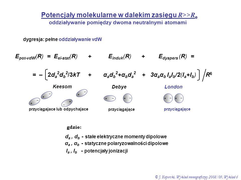 oddziaływanie pomiędzy dwoma neutralnymi atomami dygresja: pełne oddziaływanie vdW E pot-vdW (R) = E el-stat (R) + E induk (R) + E dyspers (R) = = – 2