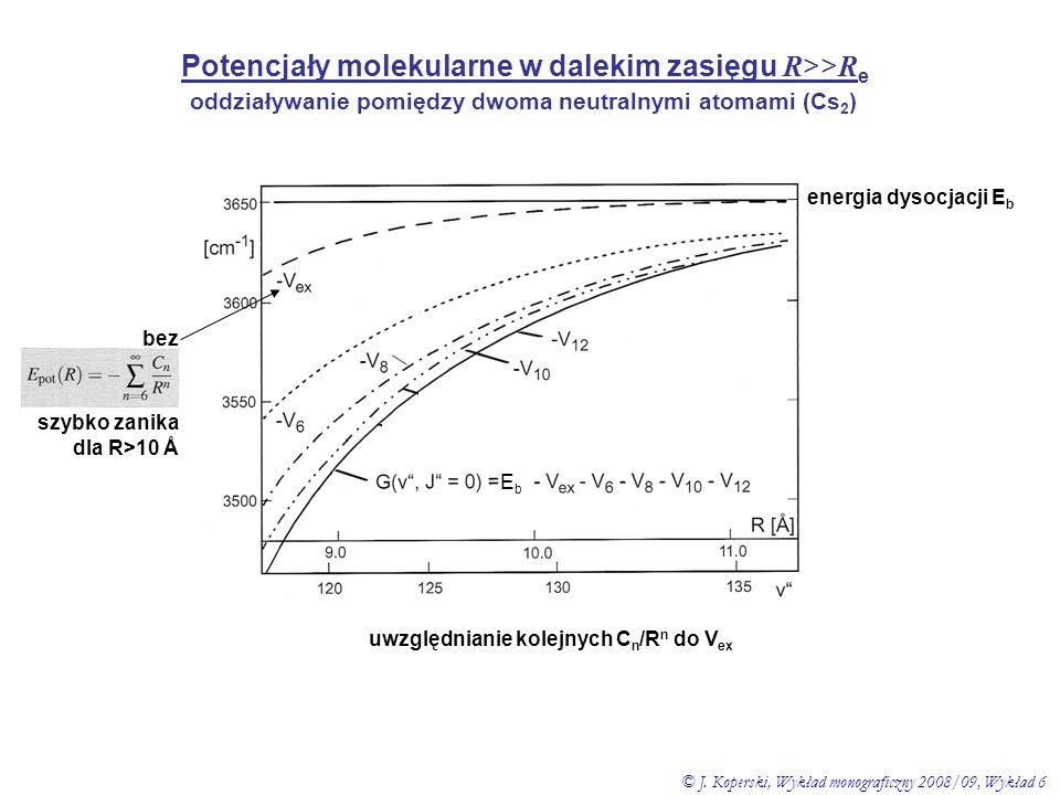 Potencjały molekularne w dalekim zasięgu R >> R e oddziaływanie pomiędzy dwoma neutralnymi atomami (Cs 2 ) energia dysocjacji E b EbEb bez szybko zani
