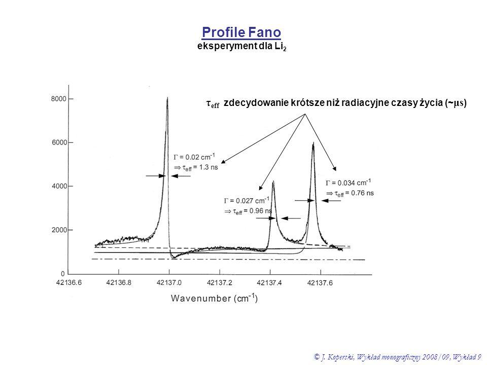 Profile Fano eksperyment dla Li 2 τ eff zdecydowanie krótsze niż radiacyjne czasy życia (~ μs ) © J. Koperski, Wykład monograficzny 2008/09, Wykład 9
