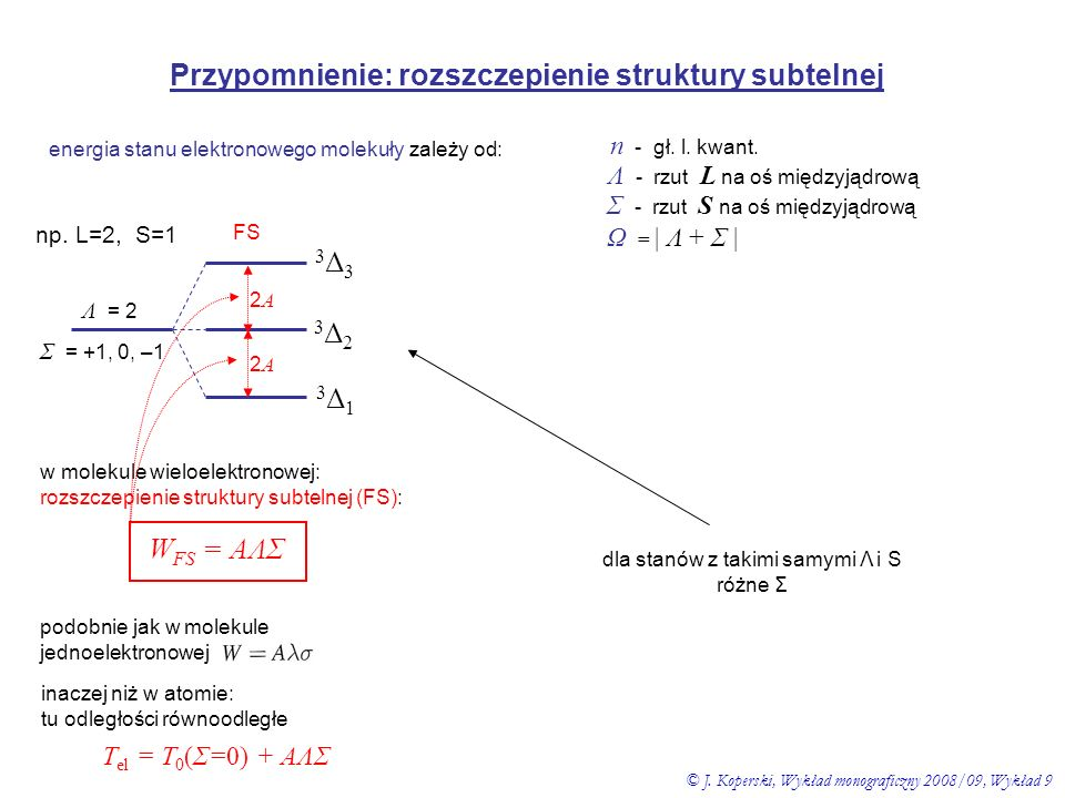 Przypomnienie: rozszczepienie struktury subtelnej energia stanu elektronowego molekuły zależy od: n - gł. l. kwant. Λ - rzut L na oś międzyjądrową Σ -