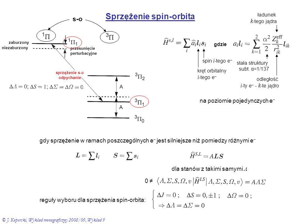 Zaburzenia rotacyjne zaburzenie od rotacji nierotująca molekuła po przekształceniach 2 gdzie hamiltonian gdyż dla niezaburzonych poziomów rotacyjnych zawarte w energii stanu elektronowego sprzężenie spin-orbita zaburzenie pomiędzy dwoma stanami elektronowymi z ΔΩ=0 oddziaływanie pomiędzy poziomami rotacyjnymi dwóch stanów elektronowych z różnymi Λ ( ΔΩ=±1 ) (tzw.