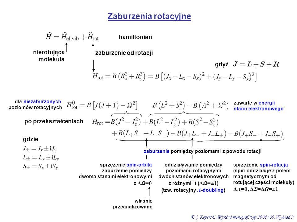 Zaburzenia rotacyjne Λ - doubling 2 rotacja sprzęga stany z ΔΛ=±1 shift oddziałujących poziomów Λ ΛdΛd ΛcΛc np.