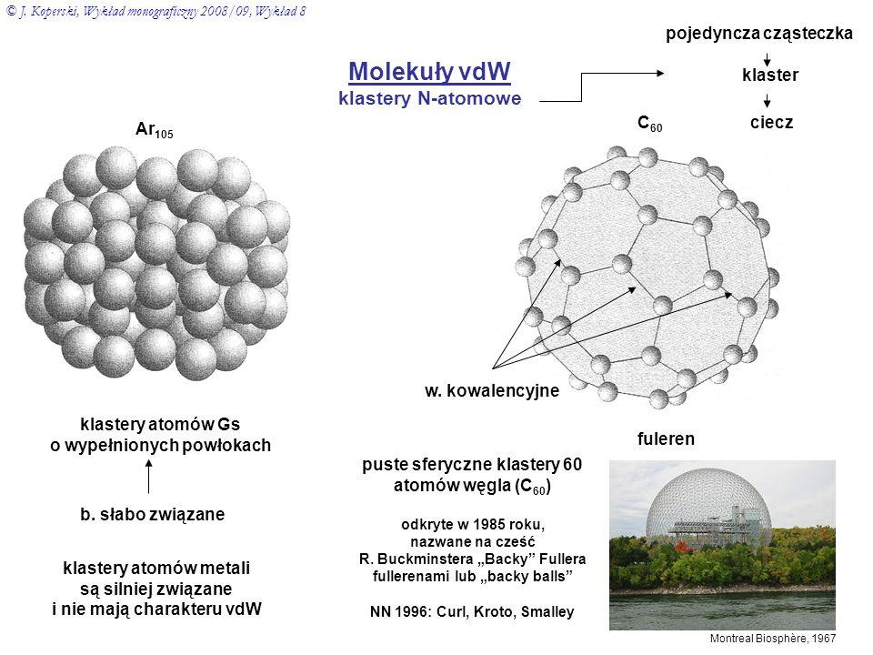 Molekuły vdW klastery N-atomowe Ar 105 C 60 fuleren klastery atomów Gs o wypełnionych powłokach b. słabo związane klastery atomów metali są silniej zw