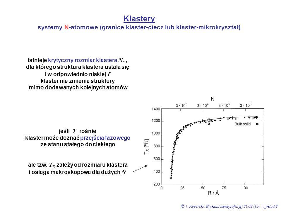 Klastery systemy N-atomowe (granice klaster-ciecz lub klaster-mikrokryształ) istnieje krytyczny rozmiar klastera N c, dla którego struktura klastera u