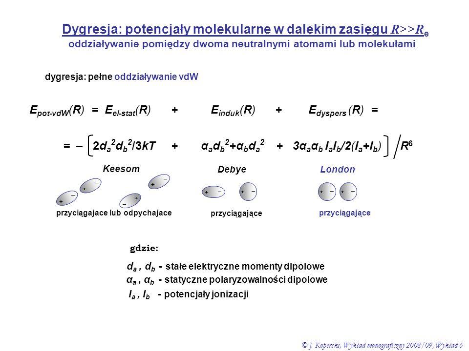 oddziaływanie pomiędzy dwoma neutralnymi atomami lub molekułami dygresja: pełne oddziaływanie vdW E pot-vdW (R) = E el-stat (R) + E induk (R) + E dysp