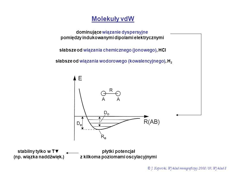 Molekuły vdW dominujące wiązanie dyspersyjne pomiędzy indukowanymi dipolami elektrycznymi słabsze od wiązania chemicznego (jonowego), HCl słabsze od w