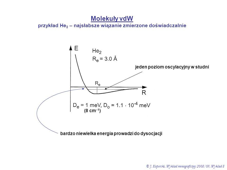 Molekuły vdW przykład He 2 – najsłabsze wiązanie zmierzone doświadczalnie bardzo niewielka energia prowadzi do dysocjacji (8 cm –1 ) jeden poziom oscy