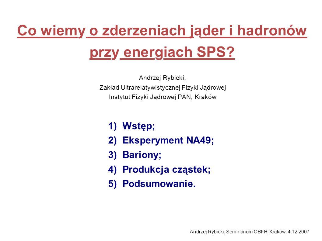 Andrzej Rybicki, Seminarium CBFH, Kraków, 4.12.2007 Co wiemy o zderzeniach jąder i hadronów przy energiach SPS? Andrzej Rybicki, Zakład Ultrarelatywis