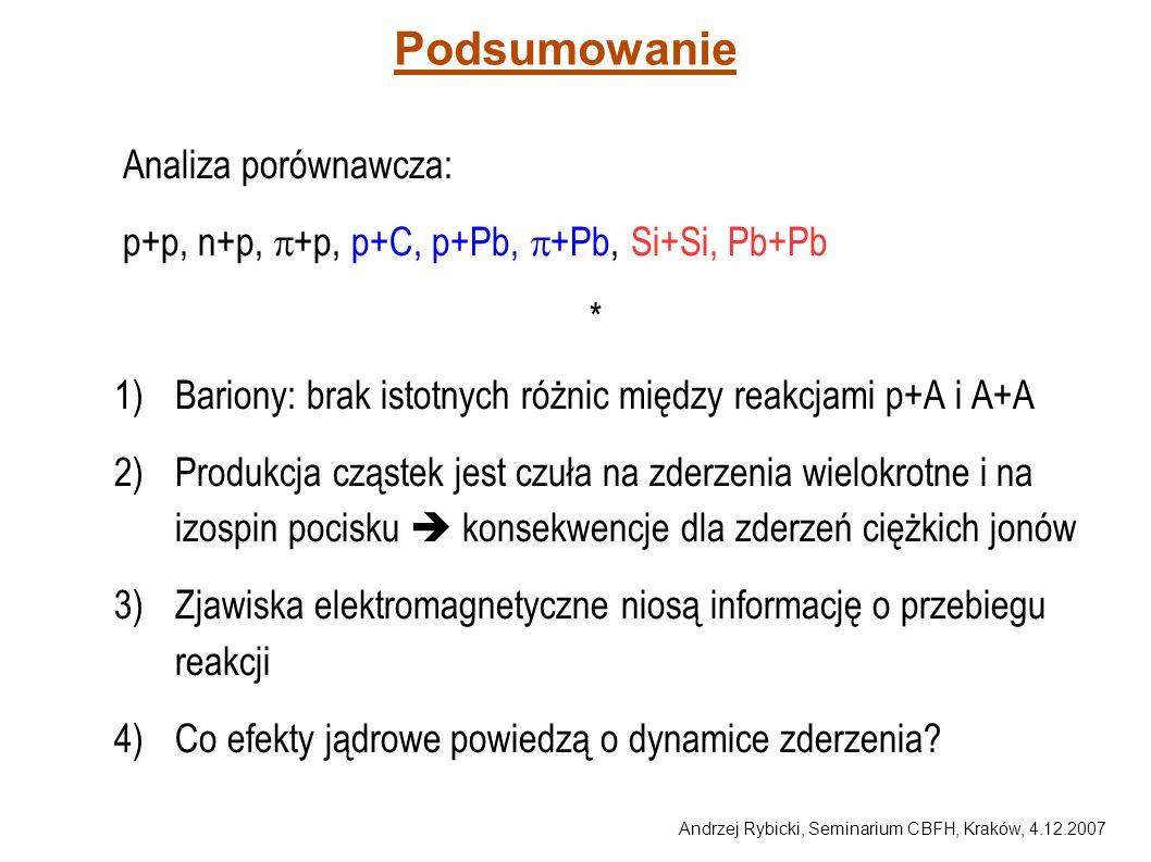 Andrzej Rybicki, Seminarium CBFH, Kraków, 4.12.2007 Podsumowanie Analiza porównawcza: p+p, n+p, +p, p+C, p+Pb, +Pb, Si+Si, Pb+Pb * 1)Bariony: brak ist