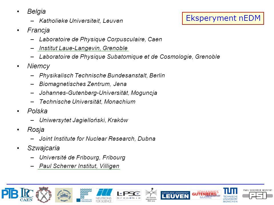 Belgia –Katholieke Universiteit, Leuven Francja –Laboratoire de Physique Corpusculaire, Caen –Institut Laue-Langevin, Grenoble –Laboratoire de Physiqu