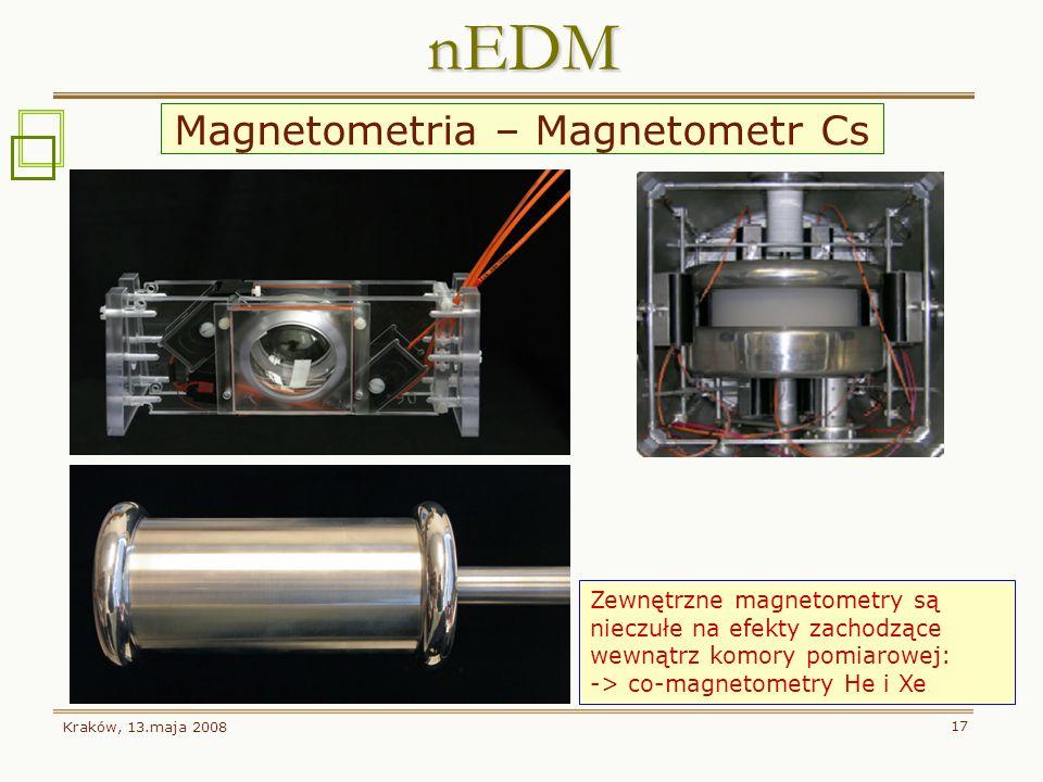 Kraków, 13.maja 2008 17 nEDM Zewnętrzne magnetometry są nieczułe na efekty zachodzące wewnątrz komory pomiarowej: -> co-magnetometry He i Xe Magnetome
