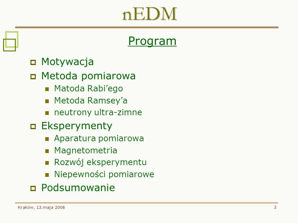 Kraków, 13.maja 2008 2 Program Motywacja Metoda pomiarowa Matoda Rabiego Metoda Ramseya neutrony ultra-zimne Eksperymenty Aparatura pomiarowa Magnetom