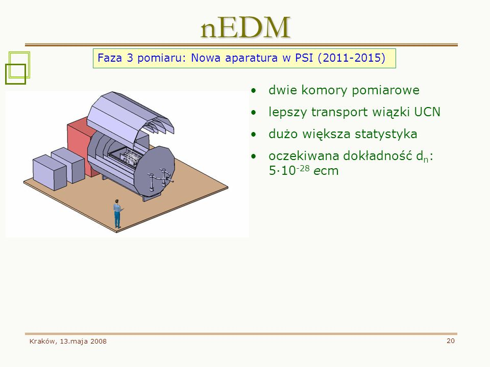 Kraków, 13.maja 2008 20 nEDM Faza 3 pomiaru: Nowa aparatura w PSI (2011-2015) dwie komory pomiarowe lepszy transport wiązki UCN dużo większa statystyk