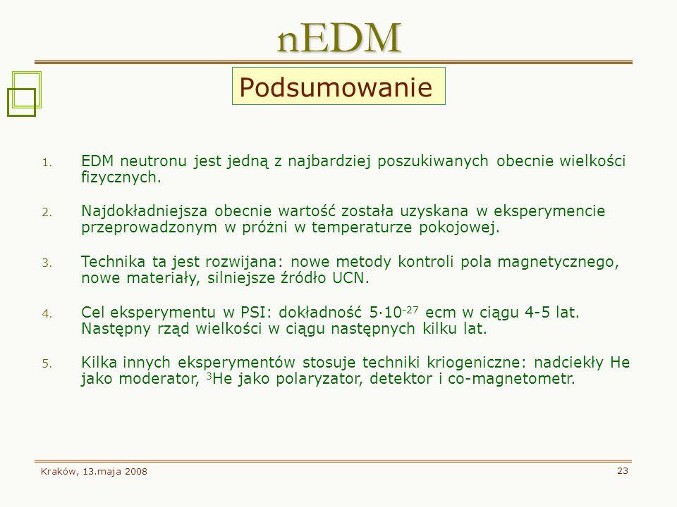 Kraków, 13.maja 2008 23 1. EDM neutronu jest jedną z najbardziej poszukiwanych obecnie wielkości fizycznych. 2. Najdokładniejsza obecnie wartość zosta