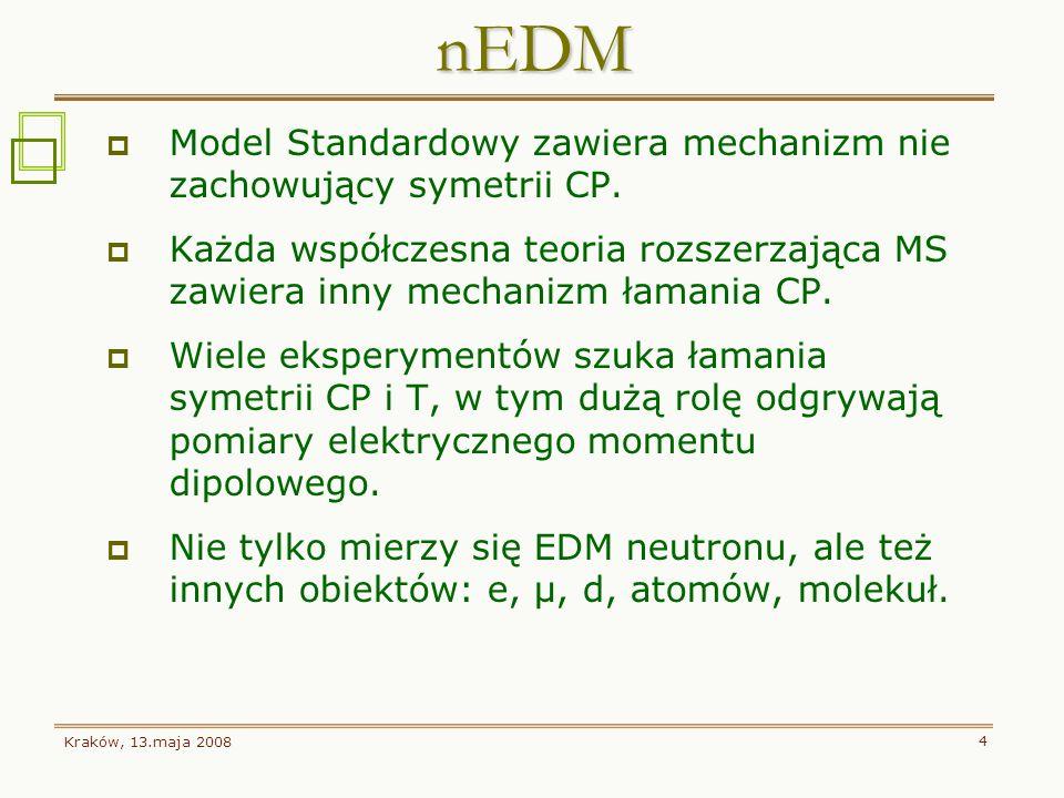 Kraków, 13.maja 2008 4 Model Standardowy zawiera mechanizm nie zachowujący symetrii CP. Każda współczesna teoria rozszerzająca MS zawiera inny mechani