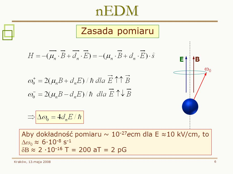 Kraków, 13.maja 2008 6 Zasada pomiaru nEDM E B ω0ω0 Aby dokładność pomiaru ~ 10 -27 ecm dla E 10 kV/cm, to Δω 0 6·10 -8 s -1 δB 2 ·10 -16 T = 200 aT =