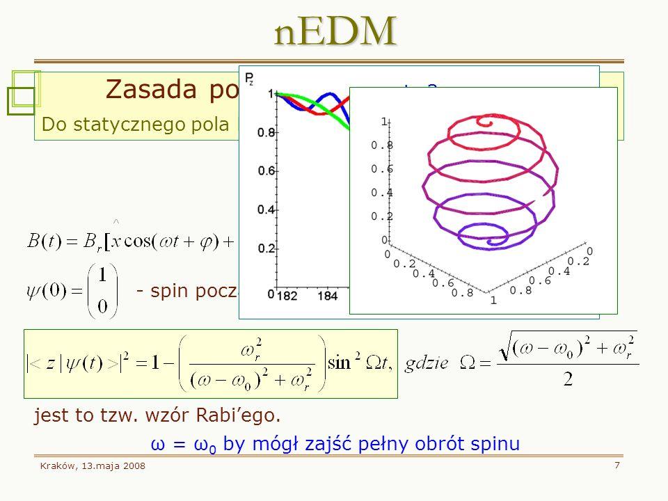 Kraków, 13.maja 2008 7 - spin początkowy neutronu równoległy do osi z Zasada pomiaru: Metoda Rabiego Do statycznego pola B 0 dodajmy prostopadłe oscyl