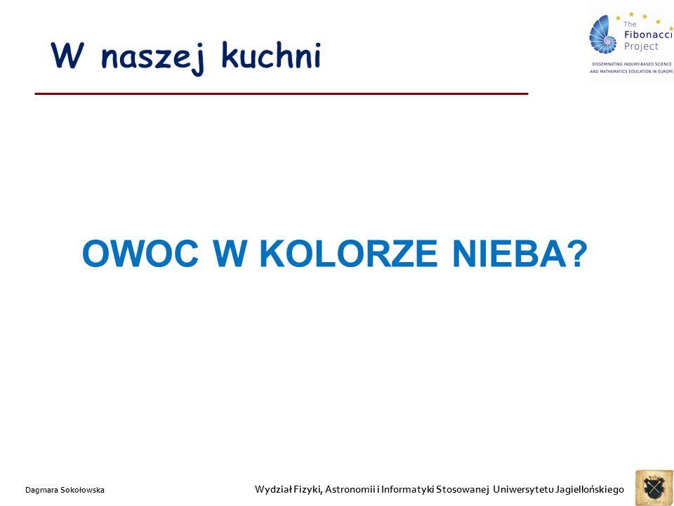 Wydział Fizyki, Astronomii i Informatyki Stosowanej Uniwersytetu Jagiellońskiego Dagmara Sokołowska OWOC W KOLORZE NIEBA?