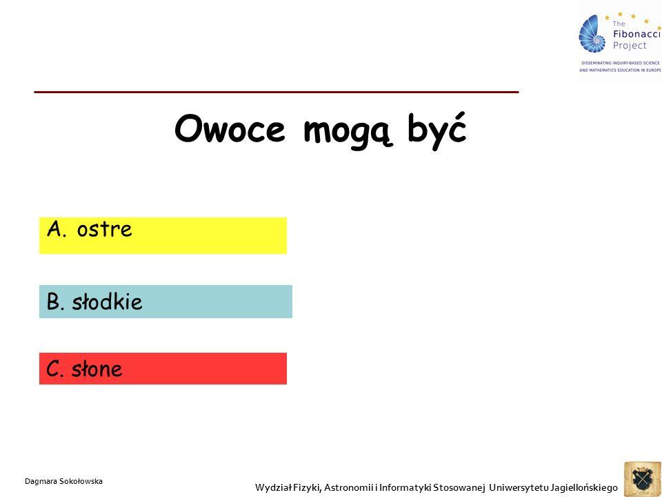 Owoce mogą być A. ostre B. słodkie C. słone Wydział Fizyki, Astronomii i Informatyki Stosowanej Uniwersytetu Jagiellońskiego Dagmara Sokołowska