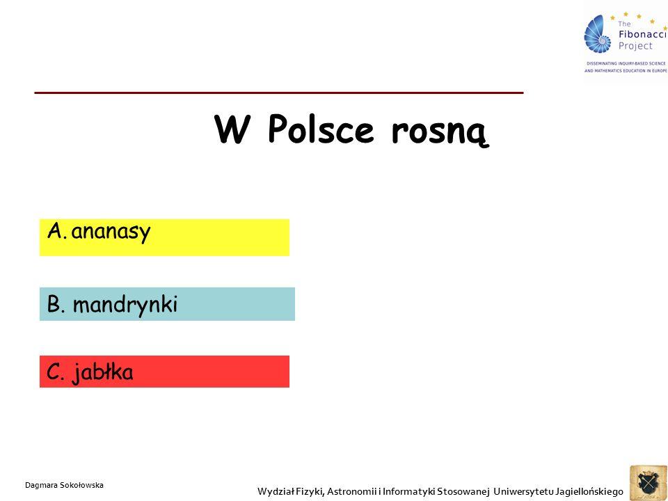 W Polsce rosną A.ananasy B. mandrynki C. jabłka Wydział Fizyki, Astronomii i Informatyki Stosowanej Uniwersytetu Jagiellońskiego Dagmara Sokołowska