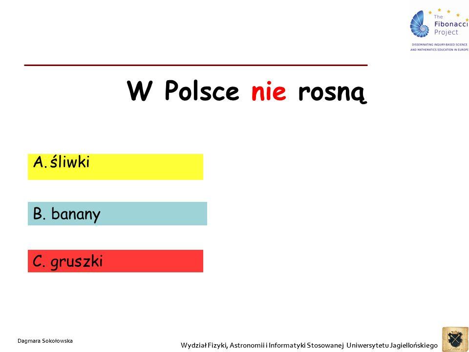 W Polsce nie rosną A.śliwki B. banany C. gruszki Wydział Fizyki, Astronomii i Informatyki Stosowanej Uniwersytetu Jagiellońskiego Dagmara Sokołowska