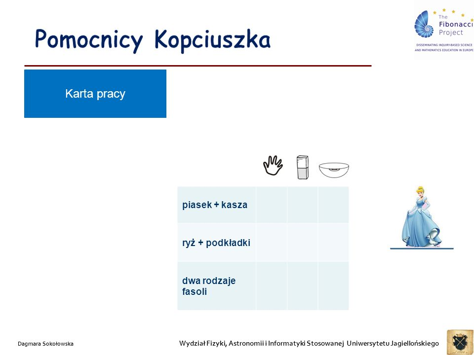 Wydział Fizyki, Astronomii i Informatyki Stosowanej Uniwersytetu Jagiellońskiego Dagmara Sokołowska Karta pracy piasek + kasza ryż + podkładki dwa rodzaje fasoli