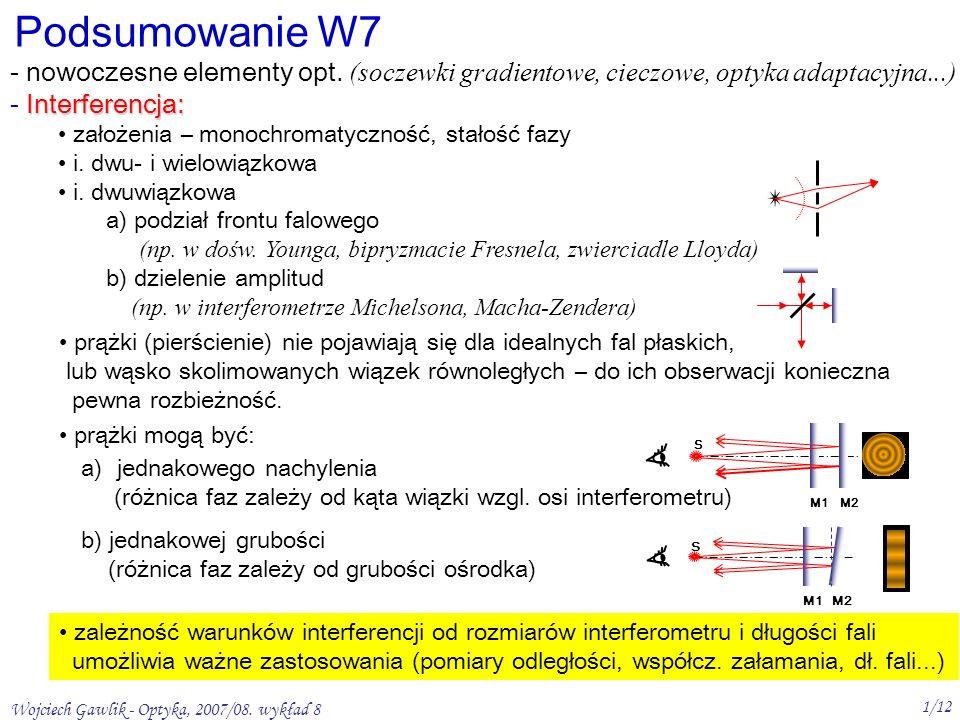 Wojciech Gawlik - Optyka, 2007/08.wykład 8 1/12 Podsumowanie W7 - nowoczesne elementy opt.