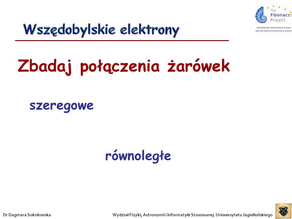 Zbadaj połączenia żarówek szeregowe równoległe Wydział Fizyki, Astronomii i Informatyki Stosowanej Uniwersytetu JagiellońskiegoDr Dagmara Sokołowska