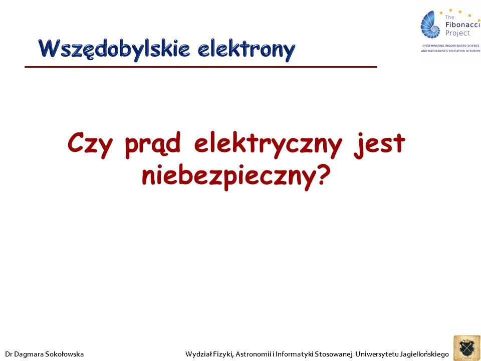 Czy prąd elektryczny jest niebezpieczny? Wydział Fizyki, Astronomii i Informatyki Stosowanej Uniwersytetu JagiellońskiegoDr Dagmara Sokołowska