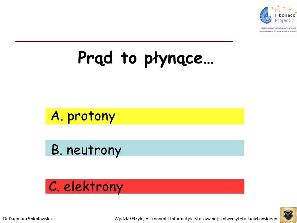 Prąd to płynące… A. protony B. neutrony C. elektrony Wydział Fizyki, Astronomii i Informatyki Stosowanej Uniwersytetu JagiellońskiegoDr Dagmara Sokoło