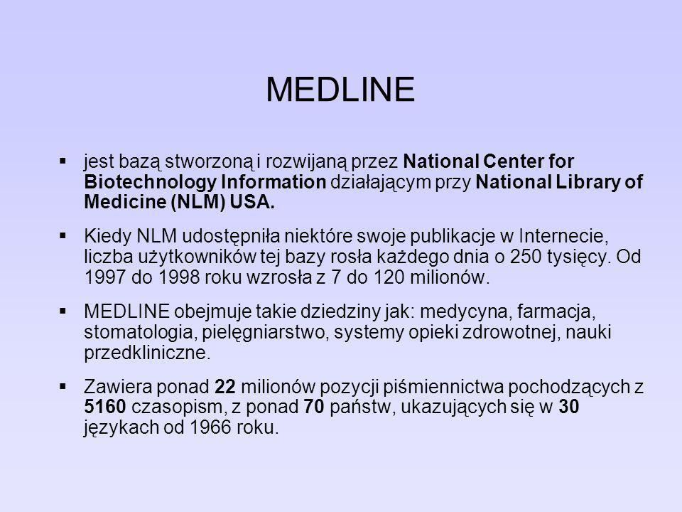 MEDLINE Około 52% rekordów pochodzi z czasopism wydawanych w USA, a 86% odnosi się do artykułów opublikowanych w języku angielskim.