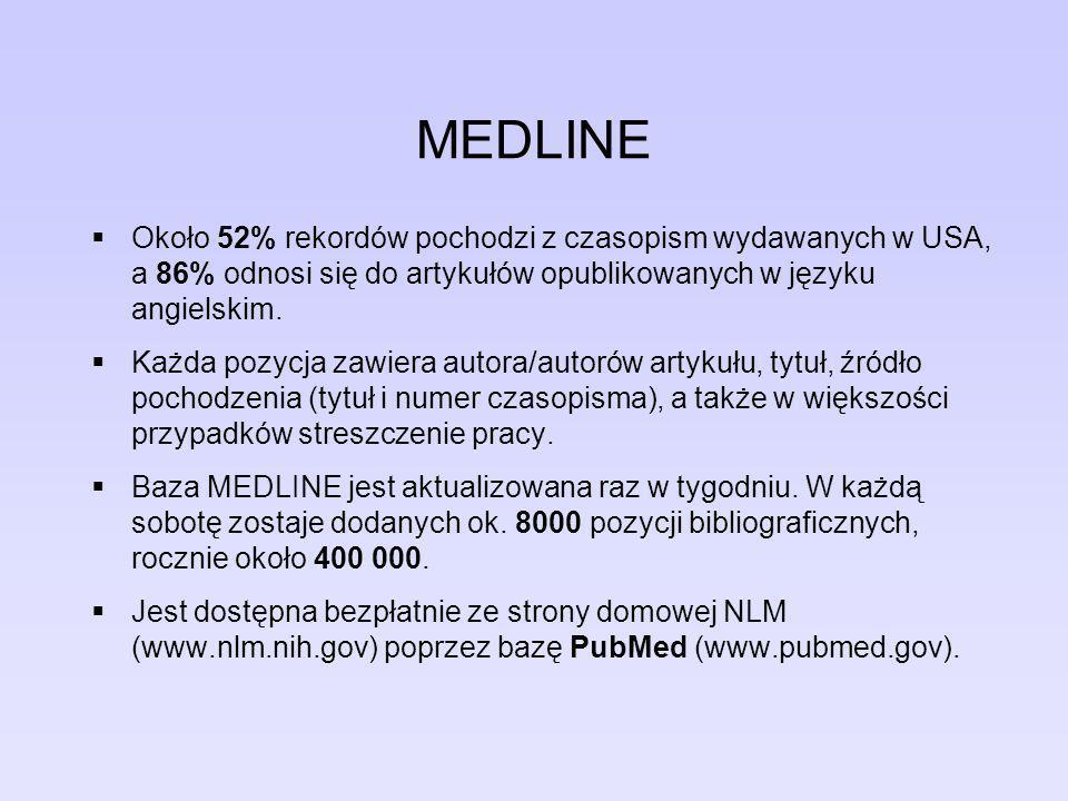 PubMed Historia PubMed zaczęła się w styczniu 1996 roku od eksperymentalnej bazy danych korzystających z modułu Entrez do wyszukiwania artykułów w bazie Medline.