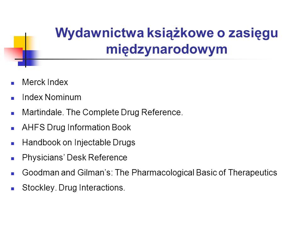 Wydawnictwa książkowe o zasięgu międzynarodowym Merck Index Index Nominum Martindale. The Complete Drug Reference. AHFS Drug Information Book Handbook