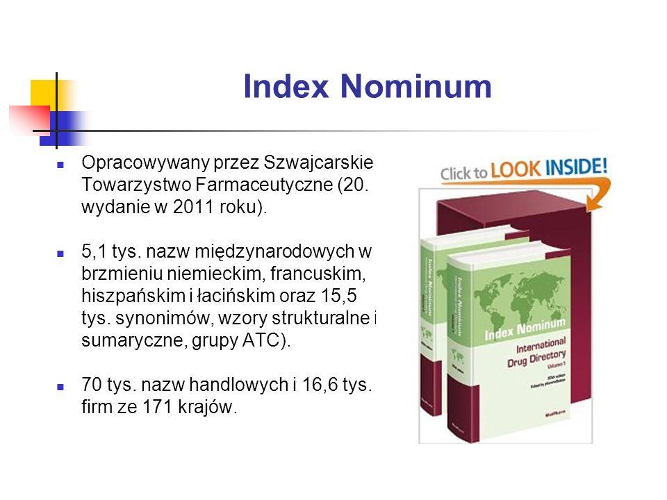 Index Nominum Opracowywany przez Szwajcarskie Towarzystwo Farmaceutyczne (20. wydanie w 2011 roku). 5,1 tys. nazw międzynarodowych w brzmieniu niemiec