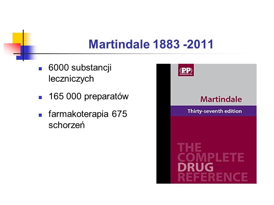 Martindale 1883 -2011 6000 substancji leczniczych 165 000 preparatów farmakoterapia 675 schorzeń