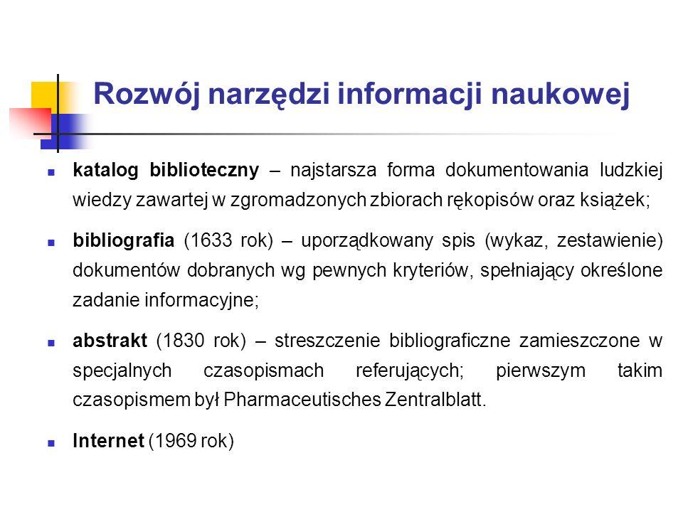 Rozwój narzędzi informacji naukowej katalog biblioteczny – najstarsza forma dokumentowania ludzkiej wiedzy zawartej w zgromadzonych zbiorach rękopisów