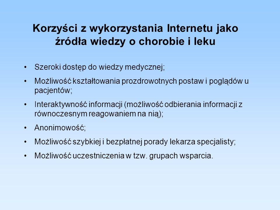 Korzyści z wykorzystania Internetu jako źródła wiedzy o chorobie i leku Szeroki dostęp do wiedzy medycznej; Możliwość kształtowania prozdrowotnych pos