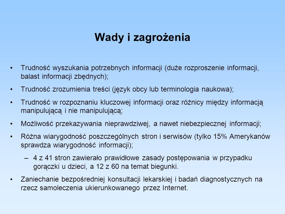 Wady i zagrożenia Trudność wyszukania potrzebnych informacji (duże rozproszenie informacji, balast informacji zbędnych); Trudność zrozumienia treści (