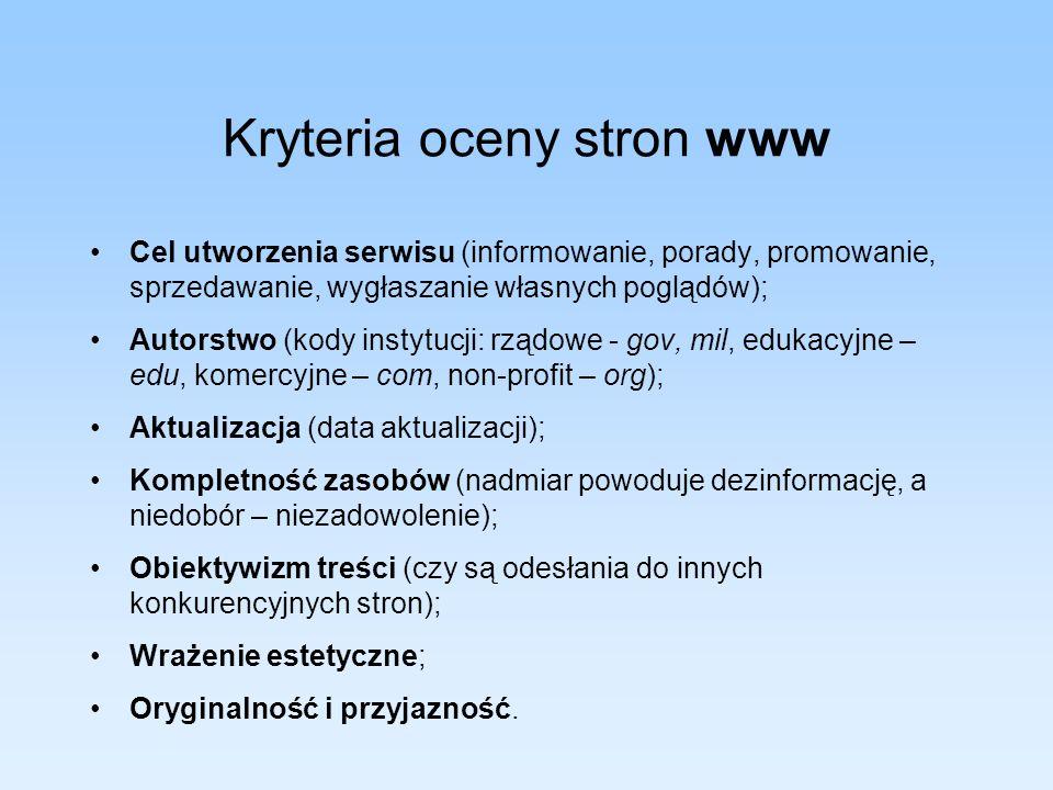 Kryteria oceny stron www Cel utworzenia serwisu (informowanie, porady, promowanie, sprzedawanie, wygłaszanie własnych poglądów); Autorstwo (kody insty