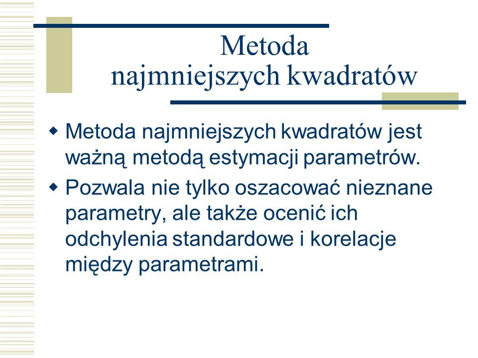 Metoda najmniejszych kwadratów Metoda najmniejszych kwadratów jest ważną metodą estymacji parametrów. Pozwala nie tylko oszacować nieznane parametry,